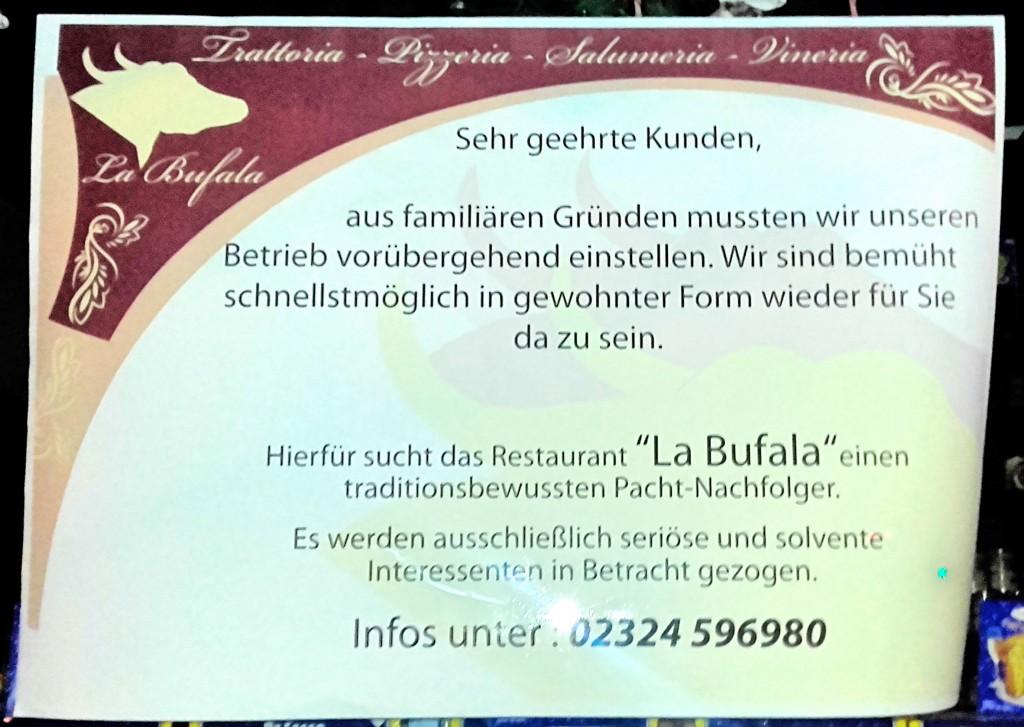 La Bufala Bochum Nochfolger gesucht