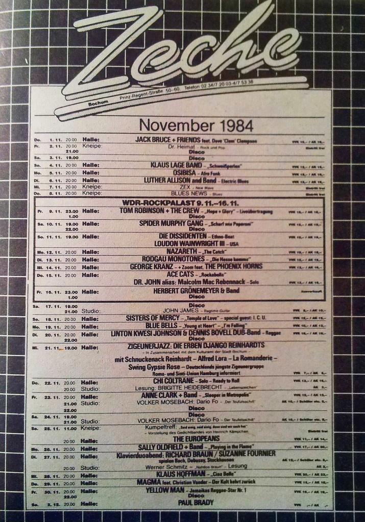Zeche Bochum Programm November 1984