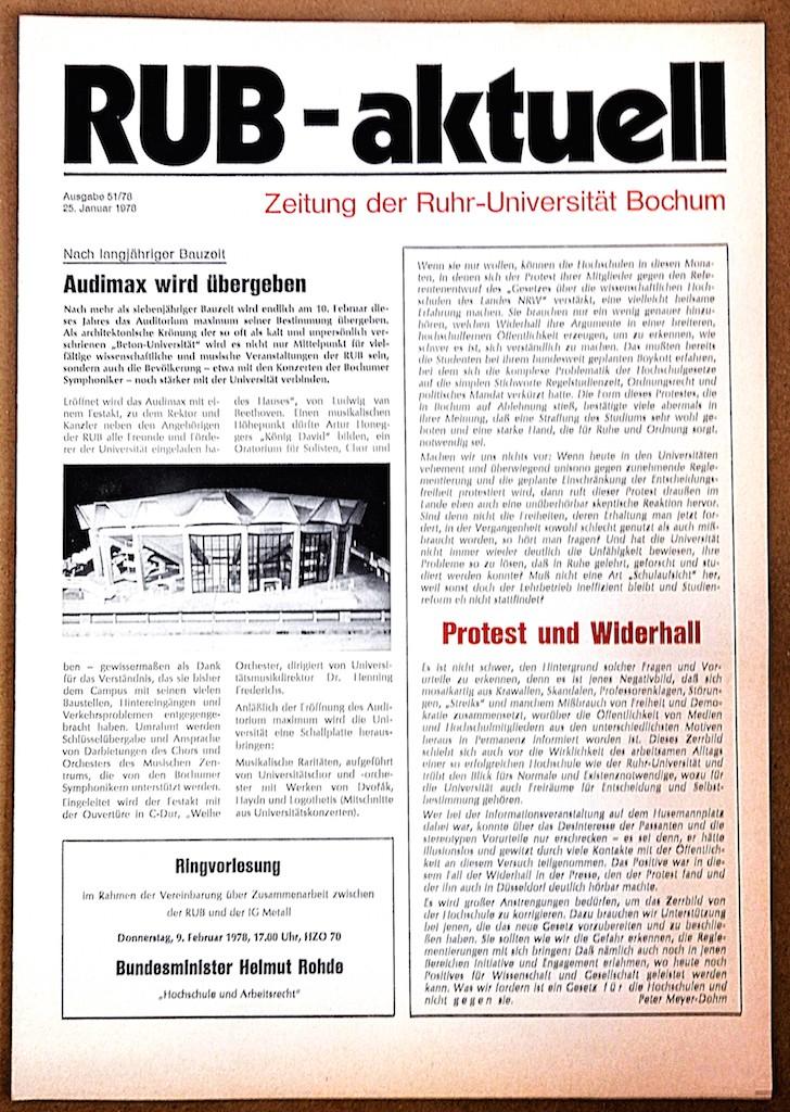 RUB-Aktuell 1978 Audimax wird übergeben